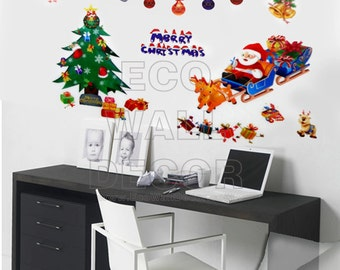 PEEL and STICK Removable Vinyl Wall Sticker Mural Decal Art - Christmas Tree and Santa Claus I