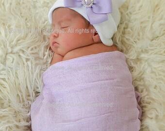 Newborn Hat - White with Lavender Bow (newborn hospital hat, newborn beanie, newborn hat with bow)