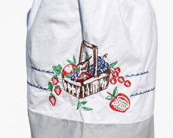 Vintage Apron Gray White Basket Fruit  Waist Apron