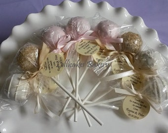 Pink and Gold Favors: Pink and Gold Cake Pops Made to Order with High Quality Ingredients, 1 dozen cake pops