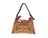 Shoulder Bag Garden Hill Tribe Thailand FAIR Trade Handmade Pom Pom (BG127-OB)