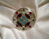 Sarah Coventry Springtime Silver Round Colorful Rhinestone Brooch