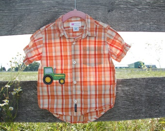 18 months Tractor Button Up Tshirt with Applique Baby Boy
