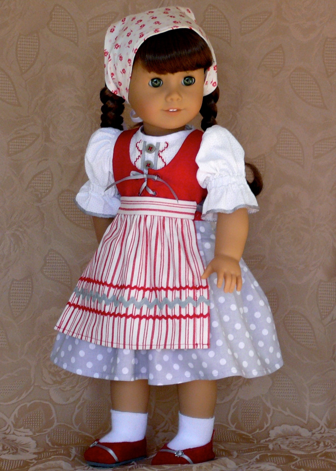american girl 18 inch doll clothes molly 39 s gray and red. Black Bedroom Furniture Sets. Home Design Ideas