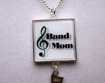 Marching Band Jewelry - Band Mom Square Resin Pendant with Music Notes Charm