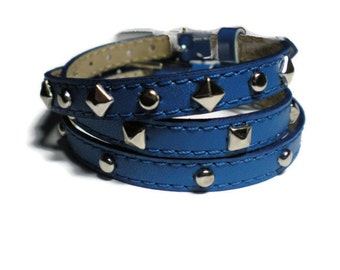 Wrap Bracelet - Leather Stud Bracelets - Royal Blue Leather Wristbands - Studded Royal Blue Bracelets - 3 Bracelets In 1