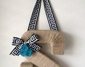 Th Original Twine Monogam Wreath.  Greek Key Ribbon.  Initial Wreath. Geometric. Door Hanger. Jute Letter. Twine Letter. Letter Wreath. Door