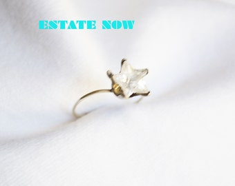 Statement Ring Size 5, Clear C Z, Star Shape, Silver, VALENTINES SALE, Item No. S 348