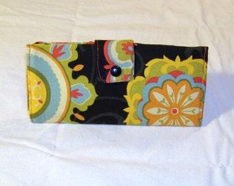 Royal Orange Blossoms Long Clutch Trifold Purse Wallet #070