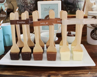 HOT Cocoa on a Stick Printable Flags  - Print Your Own - Milk, Dark and White Chocolate Tags