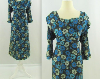 Vintage 1940s Silk Dress XL in Blue Floral Print