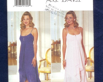 Vintage 1995 Butterick 3944 Misses' Cocktail, Evening Dress With High Low Flowing Hemline, Sizes 6 to 12, UNCUT