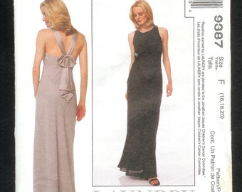McCall's 9387  Evening Gown, Lined Bias Cut ,With Open Back, & Shoulder Straps Finishing Off With a Bow In The Back, Sizes 16, 18, 20, UNCUT