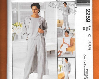 McCall's 2259 Misses' Wardrobe With Long Duster Or Jacket, Pull on Pants, Dress Or Top, Sizes 10, 12, 14, UNCUT