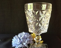 Vintage Pressed Glass Water Stemware 1940 Pattern Not Known
