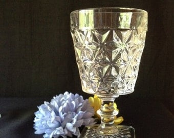 Vintage Pressed Glass Water Stemware 1940 Pattern Not Known