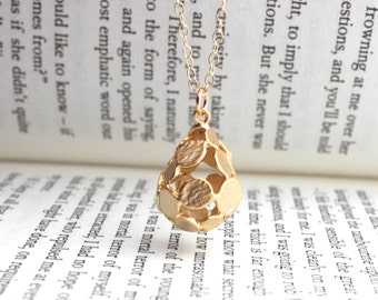 Long Gold Necklace with Open Teardrop Charm