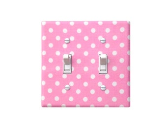 Pink Polka Dot DOUBLE Light Switch Plate Cover / Baby Girl Nursery Decor / Michael Miller Candy Pink White / Girls Room