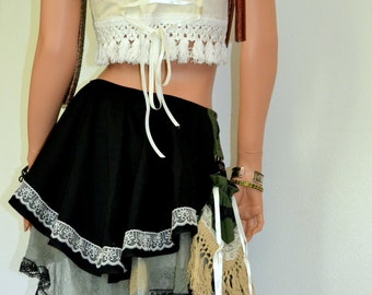 Festival outfit with fringe, Steampunk skirt, blouse and purse, Burning Man, Black and Green skater skirt