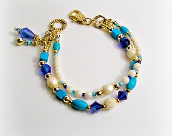 Southwestern Beaded Bracelet -  Native American Insprired Cream, Turquoise, Royal & Navy Blues Featuring Chalk Turquoise Gem Beads