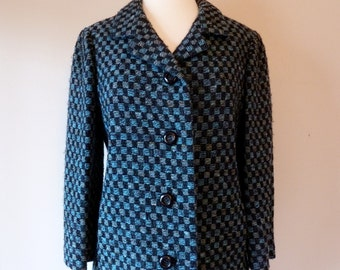 60's Monte Sano & Pruzan Saks Fifth Avenue Wool Boucle Check Jacket M