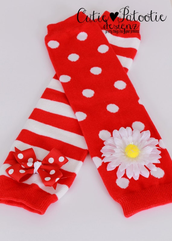 READY TO SHIP: Cutie Patootie Clown Leg Warmers - Red & White - Birthday or Halloween Costume Accessory - One Size