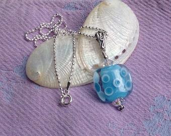 Tiny Bubbles Aqua Lamp Work Necklace, Light Blue Artisan Glass on Delicate Diamond Cut Ball Sterling Chain, Aqua Necklace, Ocean, Seaside