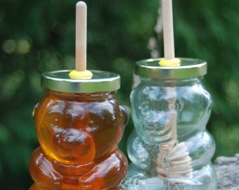 Glass Honey Bear, Honey Jar with Birch Dipper, Wedding Gift, Party Favor, Bridal Shower, Home Decor