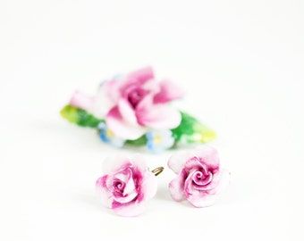 Acetone Bone China Brooch Earring Jewelry SET, Pink Rose Floral Staffordshire England Vintage, 1950s Flower Floral