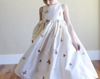White Silk Flower Girl Dress, Bridesmaid Dress