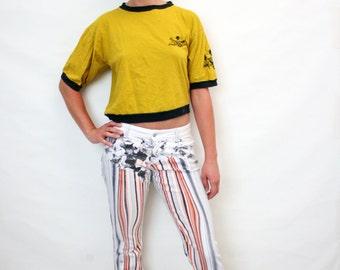 Vintage 90s Original Just Cavalli Jeans Psychedelic Print Elastic Denim Pants