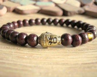 Mens Buddha Bracelet - Rosewood Bracelet for Men with Gold Buddha and Baltic Amber Bead, Wrist Mala for Stress, Protection and Healing