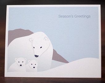 Polar Bear Christmas Cards - Minimalist Holiday Card Set of 6