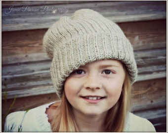 Knitting PATTERN Ribbed Slouchy Hat Child to Adult