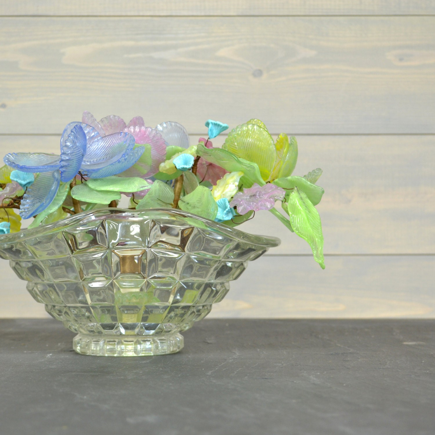 Vintage Glass Flower Bouquet Pastel Flowers Bohemian Glass
