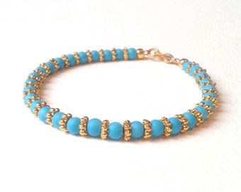 Turquoise Bead Bracelet, Indian Style Bracelet, Turquoise and Gold Beaded Jewelry, UK Seller