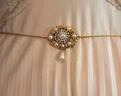 Bridal Belt Victorian Sash Bridal Sash Golden Genuine Freshwater Pearl Unique Bridal belt Art Deco Rhineston Crystals Vintage Ivory Pearls