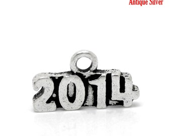 SALE 2014 Charms Silver - Antique - 15x9mm - 10pcs - Ships IMMEDIATELY from California - SC855
