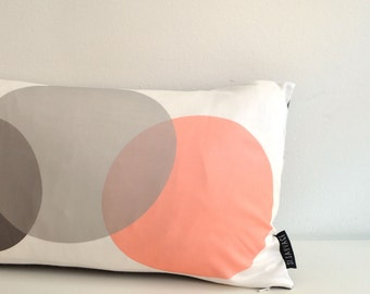 Cushion cover // Circles in grey and coral // 50x30cm // 20x12 inch