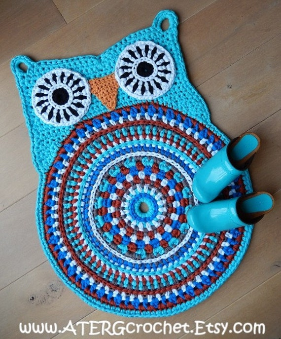 OWL RUG 'turquoise' By ATERGcrochet Ready To Ship
