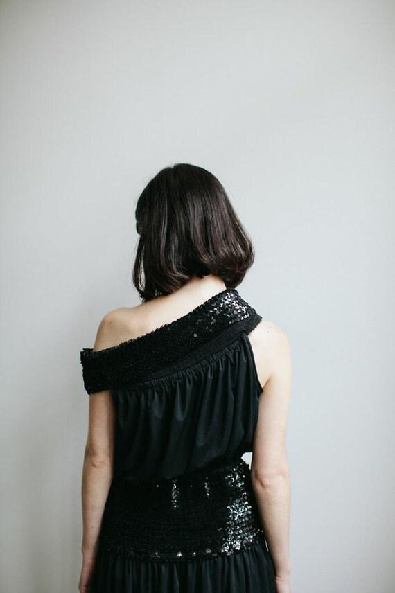 80s Black Cocktail Dress | Sequin Drop Waist