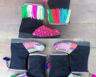 Funky Festival Boots Ethnic Karen Womens Short  Boot In Brilliant Tribal Textiles - Kala