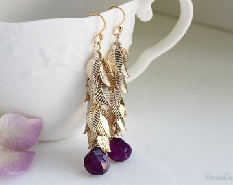 Amethyst Droplet Earrings, Leaf Earrings