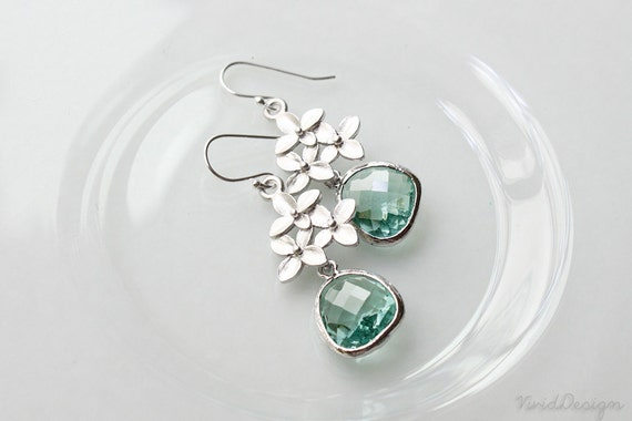 Cherry Blossom Earrings, Light Green Earrings, Mint Earrings