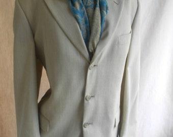 Italian silk/ wool blend subtle print dapper mod sophisticated blazer 42 TALL mb010