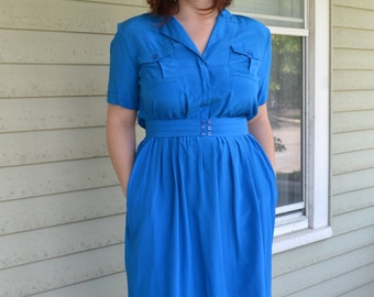Royal Blue Silk 70's Office Dress / Marshal Fields NOS Tags On CHR