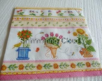 Decoupage napkins, bird, hearts, , Paper Napkins, Decoupage, white, red, orange, green, multicolor, Scrapbooking, spring, pale, 4 pcs