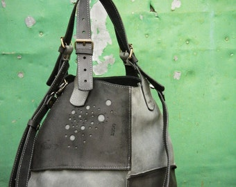 Oversized Bag ladybuq grey and black natural leather handmade original