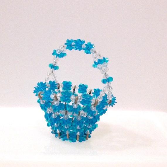 Handmade Beaded Basket : Safety pin beaded basket vintage by plattermatter