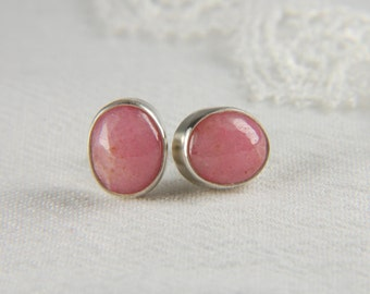 Pink Earrings Silver Artisan Earrings Large Post Earrings Natural Stone Earrings Rhodonite Earrings Artisan Jewelry